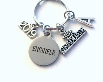 Graduation Gift for Engineer Keychain, 2019 Engineering Key Chain Mechanical Civil Industrial Student Grad KeyChain Keyring Graduate