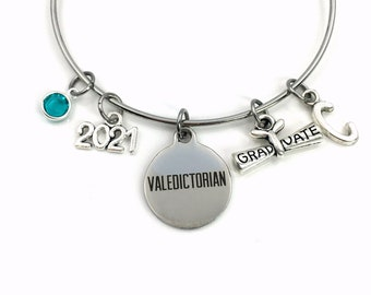 Gift for Valedictorian Jewelry, Graduation Bracelet, Grad Jewelry, Graduate Charm Bangle, Personalized Present Her Scroll High School