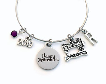Retirement Gift for Women Charm Bracelet Jewelry, 2019 Seamstress Costume Designer, Sewing Silver Bangle Coworker tailor birthstone Present