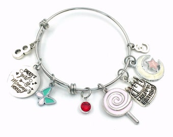 8th Birthday Gift for Girl Charm Bracelet 55mm / Turning 8 Present for Her / Daddy's Girl & Mommy's World / Silver Daughter Jewelry