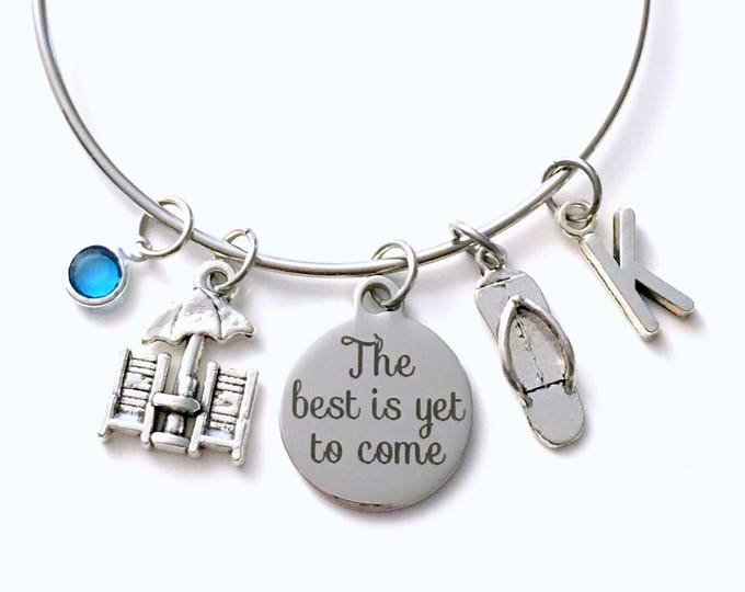 Featured listing image: Retirement Gift for Best Friend Charm Bracelet, The best is yet to come Jewelry, Beach Chair Flip Flop Silver initial birthstone Present her