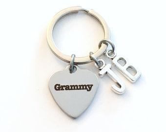 Grammy KeyChain, Multiple letters Gift for Grandmother Key Chain Grandma Present Grammie Nana Granny Nanna Mimi Meme Initial 2 3 4 5 6 7 8 9
