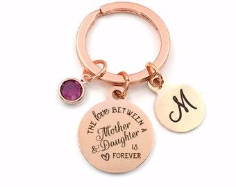 Gift for daughter on her wedding day Keychain / The love between a mother and her daughter is forever Present / Rose Gold Quote Key Chain