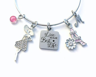 Life your Best Life Charm Bracelet for Daughter / 60mm Gift for Girlfriend Jewelry / Paris Eiffel Tower Charm / Fancy Rhinestone Present BFF