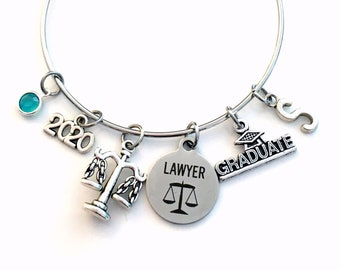 Law School Graduation Gift, 2020 Lawyer Charm Bracelet, Passing the Bar Association Student Grad Silver Bangle Jewelry Graduate