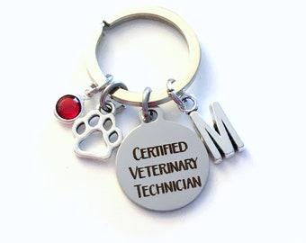 Certified Veterinary Technician Keychain, Vet Assistant Key Chain, Initial Birthstone Gift Present women her paw graduation retirement tech