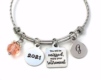 Retirement Gifts for Women, 2021 Co-worker Retirement Charm Bracelet, You will be missed, enjoy your retirement Jewelry, Stainless Steel