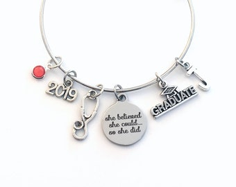 Medical School Graduation Bracelet, 2019 Jewelry Gift for RN LPN Paramedic Vet Student Nurse, She believed she could so she did her can