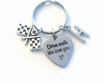 Birthday Day gift for him, Son, Husband, Boyfriend, Drive safe we love you Keychain, Present for Dad Key Chain, Father Race Car Driver drag
