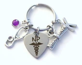 Nurse Practitioner Graduation Gift, NP Keychain, Medical Nursing Key Chain, Grad Present Stethoscope Keyring women Initial Birthstone her