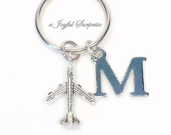 Gift for Flight Attendant Present, Airplane Keychain, Pilot's Key Chain Plane Keyring, Silver Charm with Initial letter Purse planner HIM
