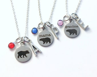 Mama Bear Necklace Set of 2 3 4 5 6 or 7 Baby Grandma Jewelry, Grandmother Gift for Birthday, Birthstone Initial matching present from kids