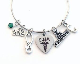 Graduation Gift for CNA Bracelet, Certified Nursing Assistance 2019 Student Grad Silver charm Bangle initial letter Nurse Assist her
