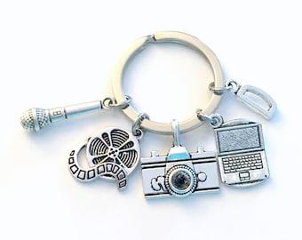 Journalist Keychain, Cameraman Key Chain, Public Relations PR Social Media Keyring, Gift for News Reporter, Blogger Blog Laptop Microphone