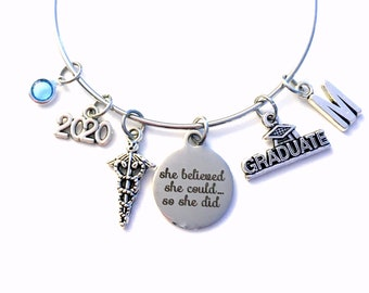 Medical Caduceus Charm Bracelet, 2020 Graduation Gift Grad Jewelry present Doctor Vet Graduate Initial She believed she could so she did her
