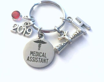 Graduation Gift for Medical Assistant Keychain, 2019 MA Key Chain, Initial Birthstone Grad Present Keyring Graduate scroll women her