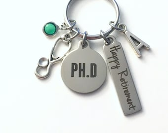 Retirement Gift for Doctor Keychain, PHD charm PH D Key chain Keyring her women letter initial Men him Professor Researcher Doctorate