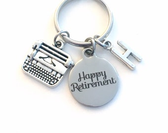 Happy Retirement Gift for Secretary Key chain / Journalist Keychain / Typewriter Keyring / Coworker women men / Writer Present