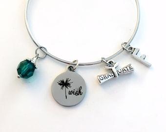 Graduation Charm Bracelet, Dandelion Wish Jewelry, Grad Gift for Student Silver Bangle initial birthstone letter women Make a wish her