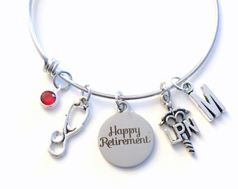 Retirement Gift For LPN Nurse Charm Bracelet, Stainless Steel Nursing Women Jewelry Bangle Licensed Practical her initial letter Birthstone