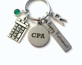 CPA Retirement Present, Accountant Keychain Gift for Chartered Professional Accounting Retire, Key Chain him her women Calculator, her him