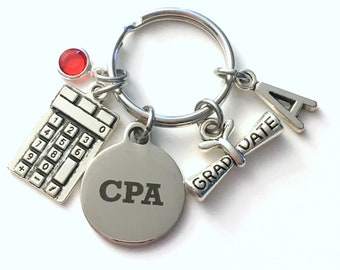 Graduation Gift for Accountant KeyChain, CPA Key Chain, Calculator Keyring Jewelry Initial Birthstone her men Graduate women Scroll present