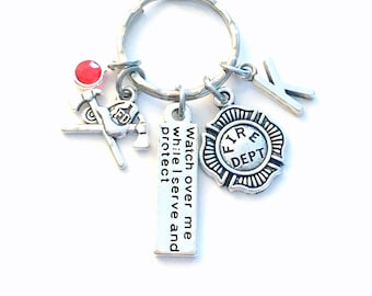 Firefighter Gift for Her or Him Keychain, Watch over me while I serve and protect Key Chain,  Fire women Firemen Keyring, Graduation present