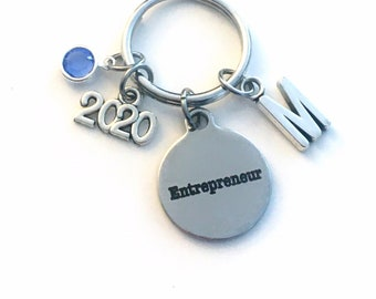 Gift for New Business Owner Keychain, 2021 Entrepreneur Key Chain, Start up Venture Birthstone Initial Present Jewelry Keyring women men her