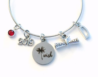 Graduation Charm Bracelet, Dandelion Wish Jewelry, 2019 Grad Gift for Student Silver Bangle initial birthstone letter women Make a wish her