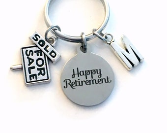 Retirement Gift for Real Estate Agent Keychain, Realtor Dad Mom Him Her Boss Key chain Keyring Retire Coworker Initial letter men 2021