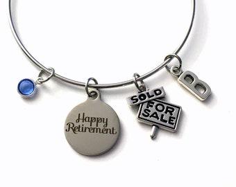 Retirement Gift for Real Estate Salesperson Charm Bracelet, Realtor Jewelry Silver Bangle, Sales women Saleswomen initial birthstone Present