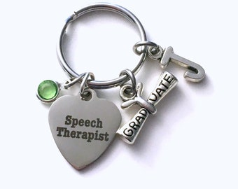 Speech Therapist Graduation Gift Keychain, ST Therapy Key Chain, SLP Keyring Initial letter men women her him language pathologist scroll