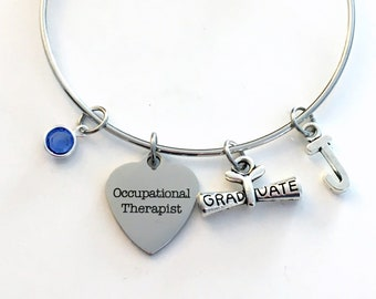 OT Graduation Bracelet 2020, Occupational Therapist Grad Gift for Her Student Grad Silver Bangle Therapy initial birthstone letter