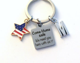 US Navy Boyfriend Gift Key Chain, Come home safe, we need you here with us Keychain, Merchant Marine Officer, First Responder USA Flag star