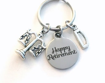Retirement Gift for Lawyer Keychain, 2021 Law Legal Secretary Key chain Assistant Keyring Retire Coworker Initial letter present Libra 2021