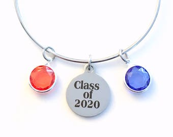Class of  2020 Jewelry, or 2017 2018 2019 Birthstone Charm Bangle, Student Grad Gift for Teen Girl Teenager High School Graduation Bracelet