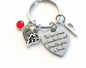 Gift for Grandma Key Chain, The love between a Grandmother and Granddaughter is Forever KeyChain Keyring Jewelry Initial letter present Mimi
