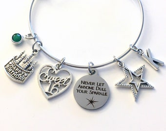 Sweet 16th Birthday Gift for Girl Charm Bracelet / Turning 16 Present for Her / Silver Personalized Bangle Jewelry /Daughter Granddaughter
