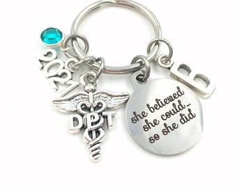 2021 DPT Graduation Gift / DPT Keychain / She believed she could so she did Key Chain / Doctor of Physical Therapy Keyring / Caduceus Her