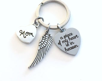 A piece of my heart is in Heaven Keychain, Memorial Key Chain with Wing, Sympathy Gift Loss of Mom Dad Son Daughter sister brother loved one