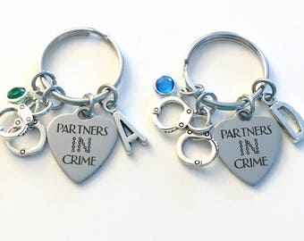 Gift for Bridal Party KeyChain Set of 1, 2 3 4 5 6 Partners in Crime Girlfriend, BFF Keyring, Best Friends Key Chain, Birthstone Initial her