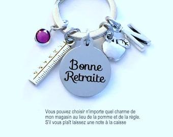 Bonne Retraite Porte-clés, Professeur Teacher Retirement Gift Keychain, French Quote français Key chain Keyring Retire for ses femmes lui le