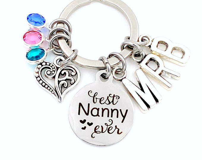 Featured listing image: Best Ever Nanny KeyChain, Nanny Key Chain, Gift for Grandmother Keyring Multiple 2 3 4 5 6 7 8 9, Mother's Day Present, Initial Birthstone