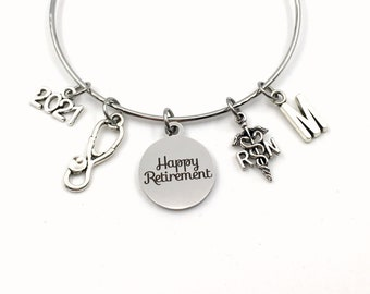 Retirement Gift for RN Nurse / 2021 or other year / Nursing Charm Bracelet Jewelry / Silver Bangle / Coworker Head Present