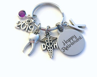 Retirement Gift for DH Keychain 2020 Caduceus Dental Hygienist Key chain Keyring Retire Tooth Initial letter her him Dentist Assistant 2019