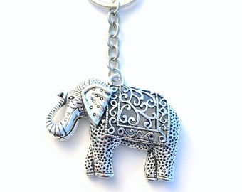 Elephant Key Chain, Large Animal Keychain, Strength Friendship Gift for Girlfriend Keyring, Birthday Present Teenage Daughter Son Teen Niece