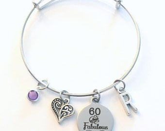 60th Birthday Gift for Women Jewelry, Mom Bracelet, Sixty and Fabulous Charm Bangle, Silver 60 present, mum Mother Woman her, Best Friends