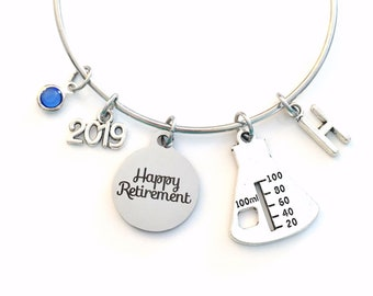 Retirement Gift for Chemist, Laboratory Technician Tech Beaker Women Charm Bracelet Jewelry Silver Bangle Science initial birthstone Present