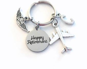 Pilot Retirement Present, 2021 Flight Instructor Key Chain, Airplane Keyring, him her men women Retire Birthstone Man Gift for Wings Plane