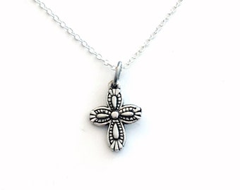 Cross Necklace, Religious Jewelry, Ornate Charm, Crucifix Jewelry Godparent Gift, First Communion Confirmation Silver Godchild Goddaughter 2